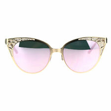 Color Mirror Die Cut Metal Mesh Lace Jewel Cat Eye Fashion Gothic Sunglasses