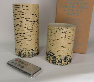 Set of 2 Avon Faux Birch LED Candles with Remote Control / New in Box