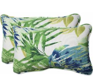"Pillow Perfect Outdoor/Indoor  Soleil Blue Throw Pillows, 11.5"" x 18.5"", 2 Pack"