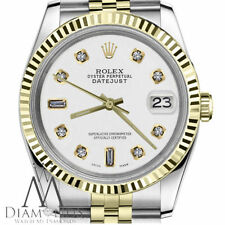 Womens Rolex 26mm Datejust 2 Tone White Color Dial with 8+2 Diamond Accent