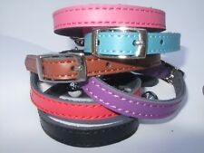 Cat Collar REAL LEATHER Genuine SAFETY ELASTIC metal buckle  6 colours bell