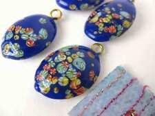 Vintage Japanese Beads Glass Blue Bead Flower Pendant Millefiore Drop 21x15mm
