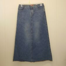 Union Bay 9 Skirt Blue Jean Denim Long Modest Church Pockets No Slits Streaked