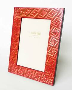 Natalini Photo Frame Deep Red Wood With Gold Diamond Design for 4x6 Picture