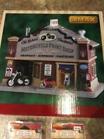 LEMAX -Old School Customs -Motorcycle Paint Shop -Lighted Holiday Village/Train