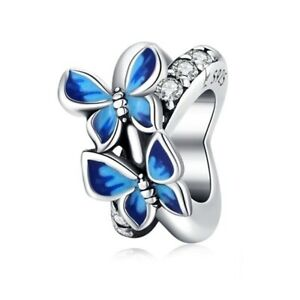SOLID Sterling Silver Sparkling Blue Butterfly Spacer Charm by YOUnique Designs