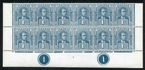 SARAWAK SG62 1918 1c Prepared for Use but Not Issued Block of 12 U/M