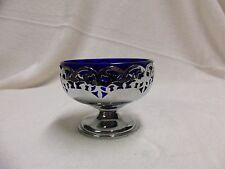 VINTAGE COBALT BLUE AND SILVER CANDY DISH MADE IN ENGLAND