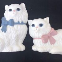 Vintage Molded Plastic 60s 70s Cat Wall Decor White Cats