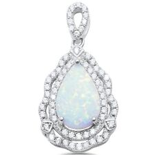 Pear Shape White Opal & Cubic Zirconia .925 Sterling Silver Pendant