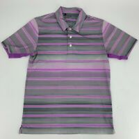 Adidas Climacool Mens Golf Shirt Size S Polo Short Sleeve Purple Black Stripe N8