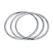 Basic Set of 3 Stackable 3mm Bangles Bracelet Shinny High 925 Sterling Silver