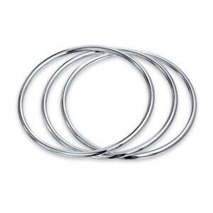 Set OF 3 Stackable Bangles Bracelet Shinny High 925 Sterling Silver
