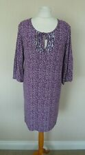 FAB Avoca Purple White Spot Polka Dot Jersey Tunic Top Dress Size 1 UK 8-10 VGC
