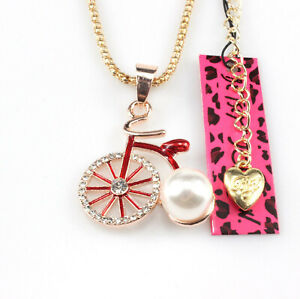 Betsey Johnson Red Pearl Bike Rose Gold Pendant Chain Necklace Free Gift Bag