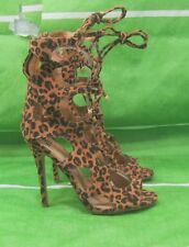 "new ladies cheetah 4.5""Stiletto High Heel peep Toe Lace Up Sexy Shoes Size  7"