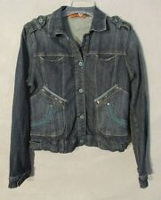 W5728 Vertigo Paris Womans Blue Denim Size 6 Full Zip Up Jacket w/Pockets