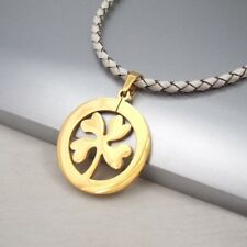 Gold Four Leaf Clover Celtic Lucky Charm Pendant Braided White Leather Necklace