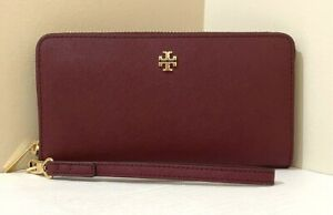New Tory Burch Emerson wristlet zip continental wallet Leather Imperial Garnet