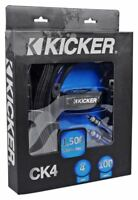 Kicker CK4 Complete 4-Gauge AWG Car Amp Installation Kit OFC Wires 100% Copper