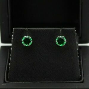 9ct White Gold Created Emerald Stud Earrings (0.80ct, 1.50ct)