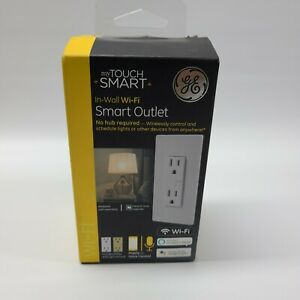 GE My Touch Smart In-Wall Wi-Fi Smart Outlet No Hub Needed White/Light Almond