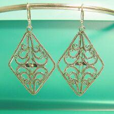 """1 1/2"""" 925 Sterling Silver Handmade Filigree Diamond Dangle Handmade Earrings"""