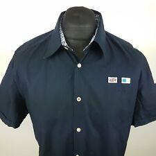 Gaastra Mens Shirt LARGE Short Sleeve Blue Regular Fit No Pattern Cotton