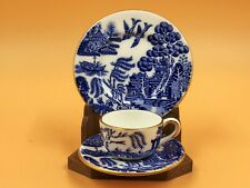 More details for coalport china blue willow miniature cabinet tea cup, saucer & side plate. trio.