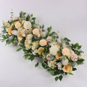 DIY Artificial Silk Flower Peonies Rose Flowers Row Wedding Wall Decor 50cm
