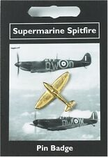 WW2 Supermarine Spitfire Fighter Plane - English Pewter - Gold Plated Pin Brooch