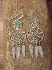 Native American Jewelry Sterling Silver Dreamcatcher Dangle Feather Earrings!