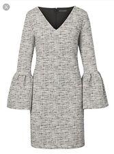 Banana Republic Print Bell-Sleeve Dress, Gray Sz M (1142B1)