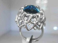 30.32Ct Genuine Natural Diamond And London Blue Topaz Ring Solid 14K White Gold