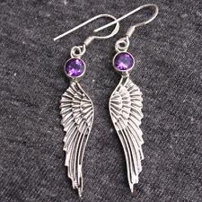 """Amethyst Gemstone 925 Sterling Silver Angel Feather Dangle Earring 2.2"""""""