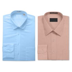 2 Pack Men's Berlioni Long Sleeve Button Up Solid Dress Shirt Pink - Light Blue