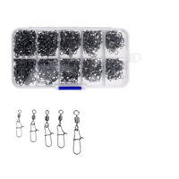 210Pcs Rolling Swivels Ring Fastlock Fishing Pin Snap Connector Accessories