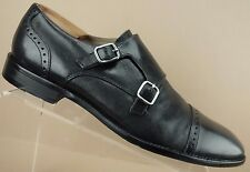 Banana Republic Adrian Black Leather Cap Toe Double Monk Strap Loafers Mens 9 M