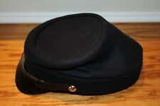 Civil War Union Army Leather Peak Kepi, Complete Navy Blue Kepi Hat XL Vintage .