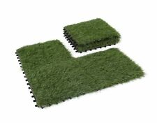 GOLDEN MOON Artificial Grass Turf Tile Interlocking Self-draining Mat, 1x1 ft,