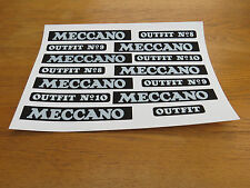 Meccano Outfit Lid Transfer Replacement stickers/Labels/Decals. Reproductions v2
