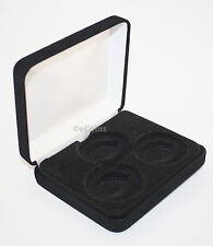 Lot of 5 Black Felt COIN DISPLAY GIFT METAL BOX holds 3-IKE or Silver Eagle SQ