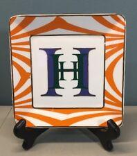C Wonder Decorative Monogram H Jewelry Plate Square Dish Catch All Orange