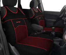2 BLACK RED PATTERN FRONT CAR SEAT COVERS PROTECTORS FOR RENAULT KADJAR