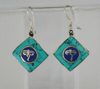 Asian Sterling silver Earring Hook top Turquoise stone jewelry handmade GLE51