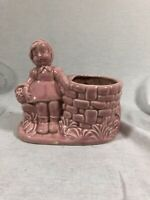 Vintage Pink Little Girl Planter Bench by Wishing Well PINK GLAZE Art Pottery