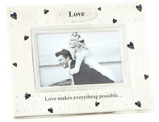 SHABBY CHIC PHOTO FRAME  HEART PRINTS,LOVE PLAQUE AND SENTIMENT ON PHOTO FRAME