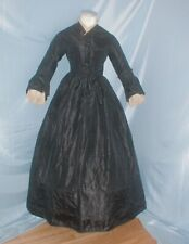 Antique Dress 1860's Black Silk Mourning Dress Victorian