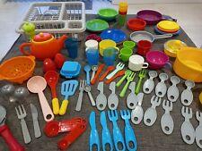 Pretend Kitchen Items Toys 60+Items - Plates/Drainer/Cups/Spoons/Salt/Pepper etc