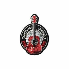 Good Tunes Sequin Guitar (Iron On) Embroidery Applique Patch Sew Iron Badge